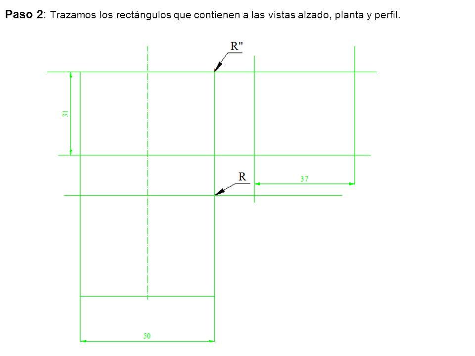 Paso 2: Trazamos los rectángulos que contienen a las vistas alzado, planta y perfil.