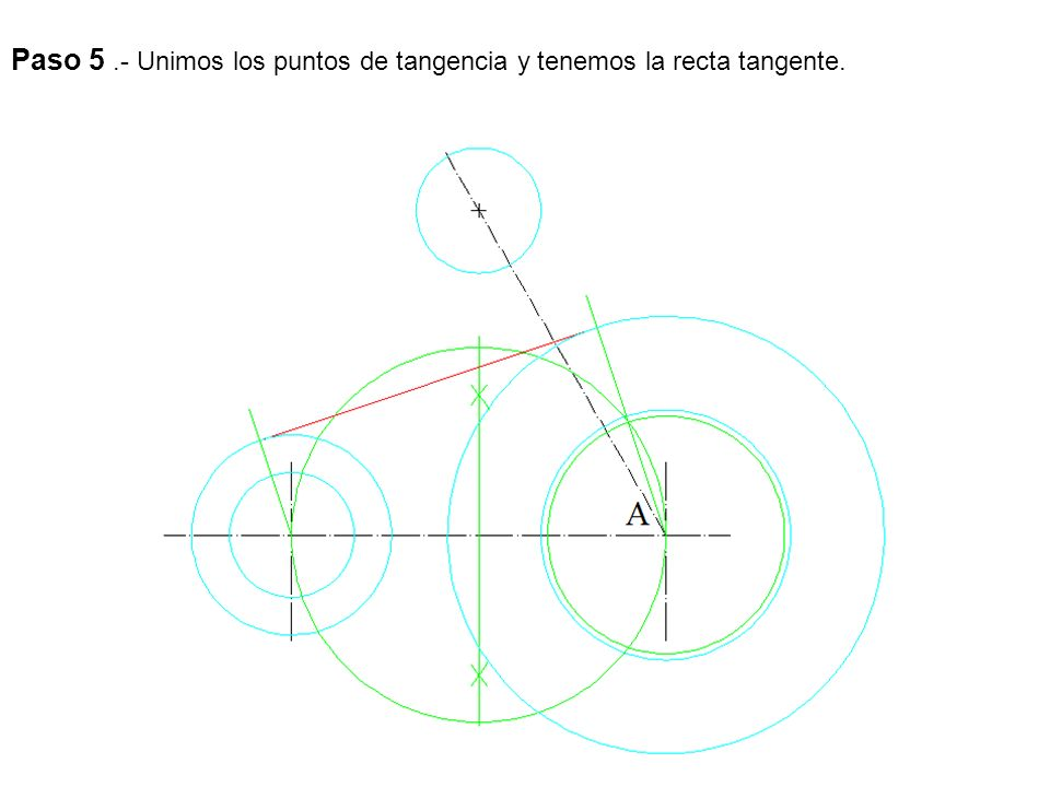 Paso 5 .- Unimos los puntos de tangencia y tenemos la recta tangente.