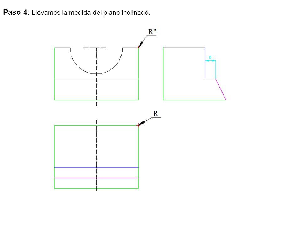 Paso 4: Llevamos la medida del plano inclinado.