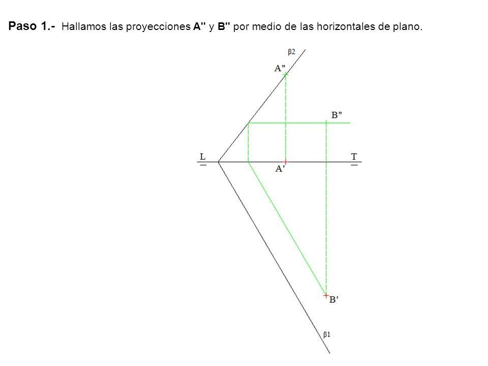 Paso 1.- Hallamos las proyecciones A y B por medio de las horizontales de plano.