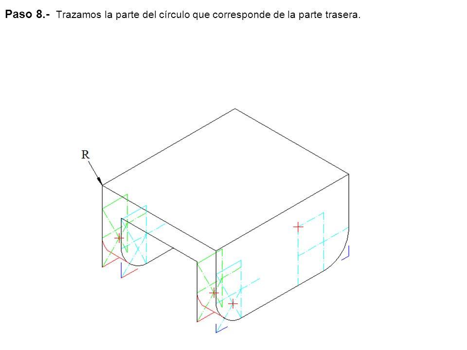Paso 8.- Trazamos la parte del círculo que corresponde de la parte trasera.