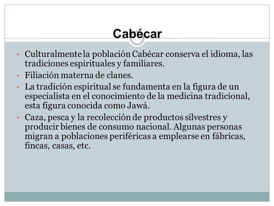 Cabécar Culturalmente la población Cabécar conserva el idioma, las tradiciones espirituales y familiares.