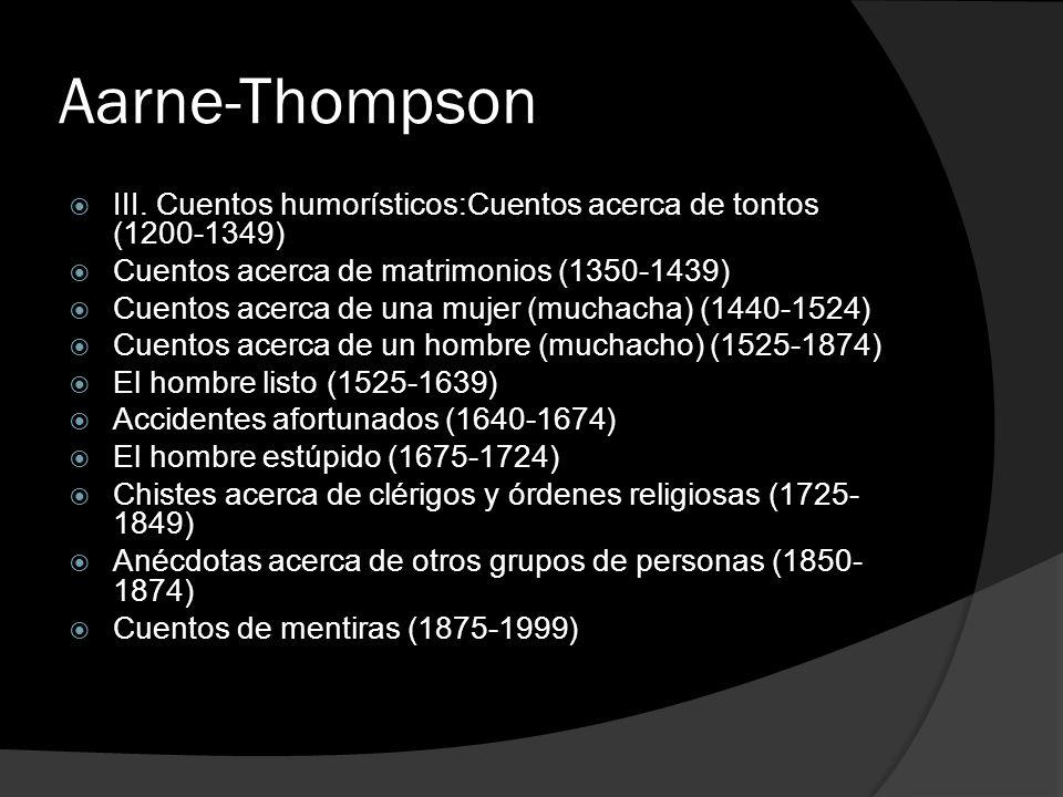 Aarne-Thompson III. Cuentos humorísticos:Cuentos acerca de tontos (1200-1349) Cuentos acerca de matrimonios (1350-1439)