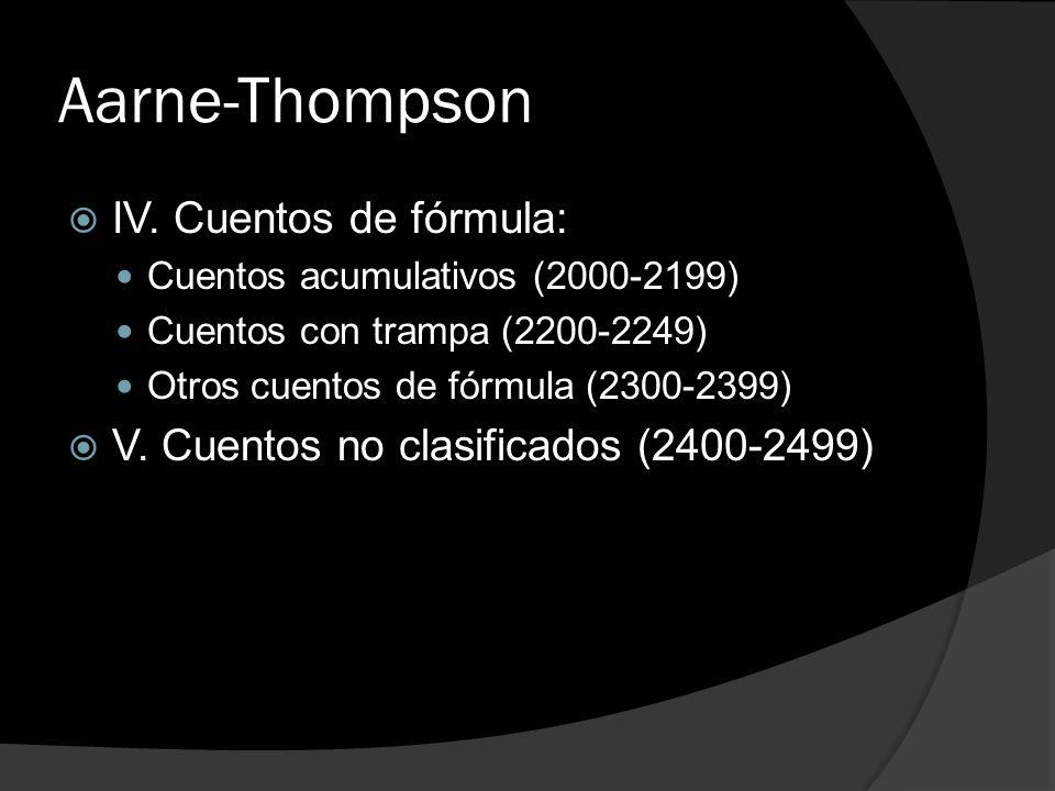 Aarne-Thompson IV. Cuentos de fórmula: