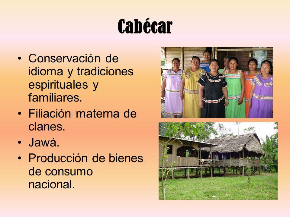 Cabécar Conservación de idioma y tradiciones espirituales y familiares. Filiación materna de clanes.