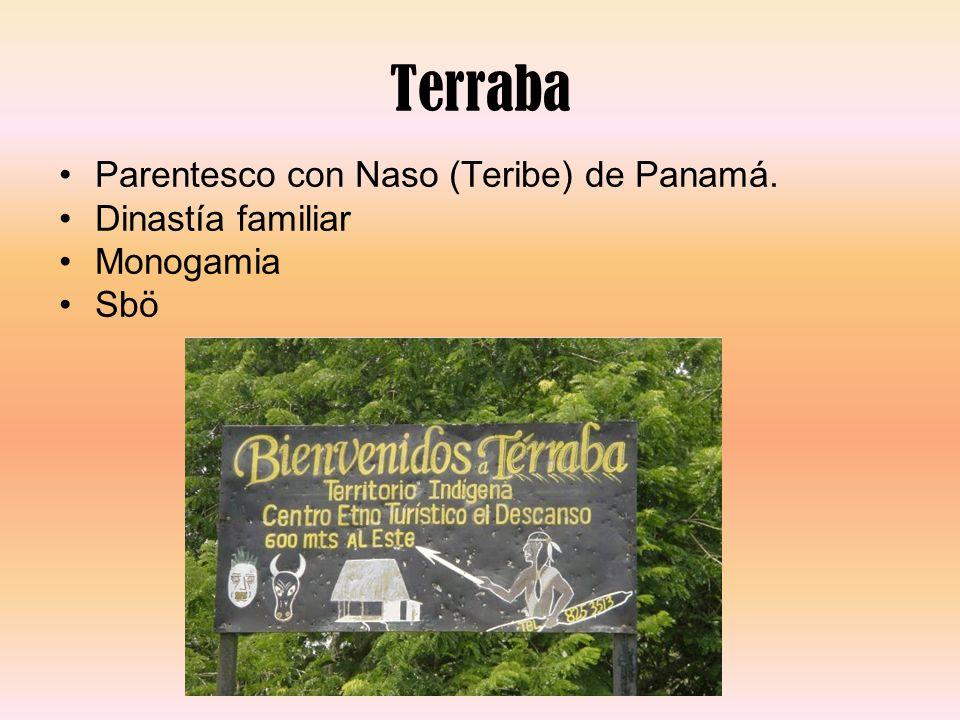 Terraba Parentesco con Naso (Teribe) de Panamá. Dinastía familiar