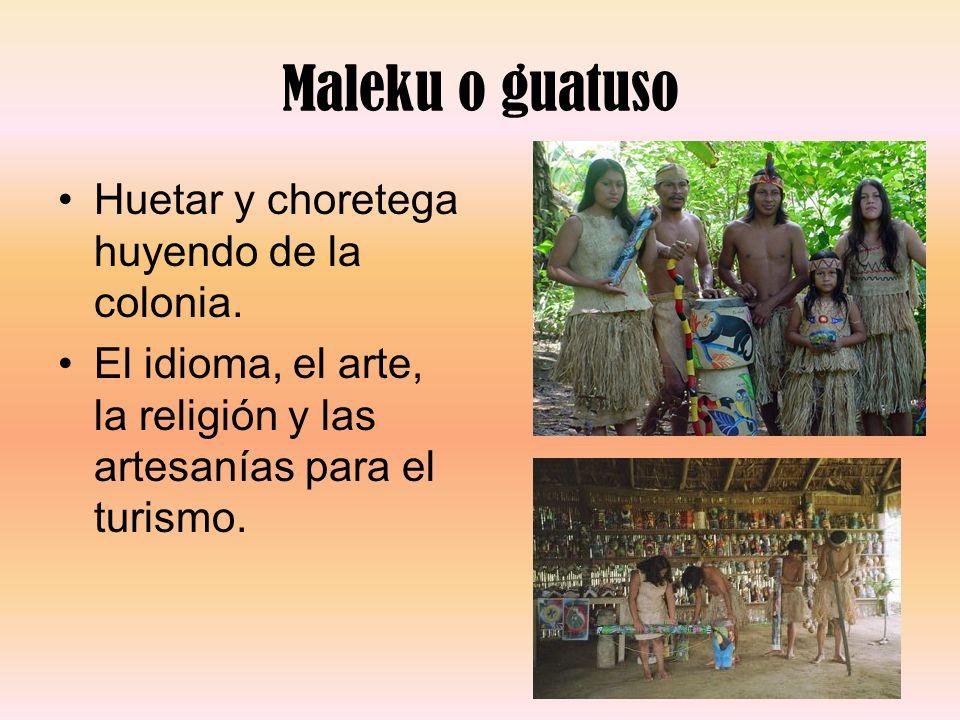 Maleku o guatuso Huetar y choretega huyendo de la colonia.
