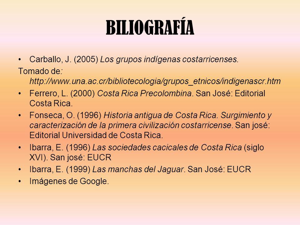 BILIOGRAFÍA Carballo, J. (2005) Los grupos indígenas costarricenses.