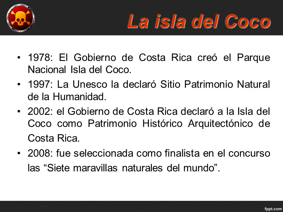 La isla del Coco 1978: El Gobierno de Costa Rica creó el Parque Nacional Isla del Coco.