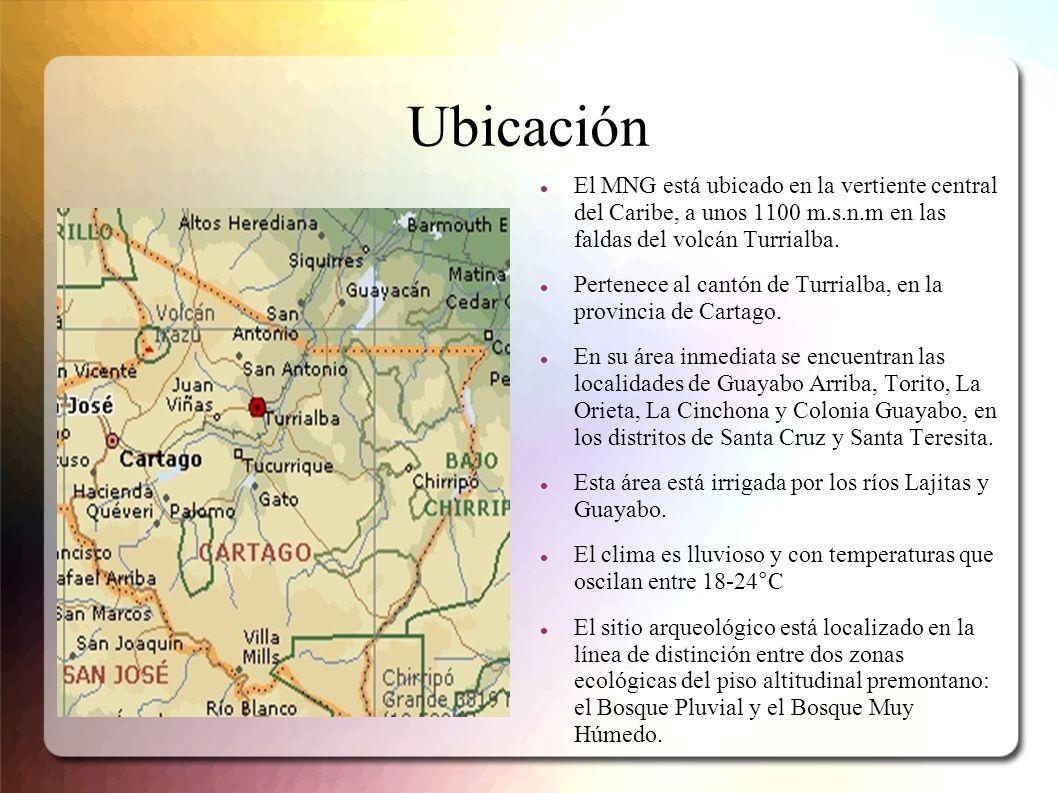 UbicaciónEl MNG está ubicado en la vertiente central del Caribe, a unos 1100 m.s.n.m en las faldas del volcán Turrialba.