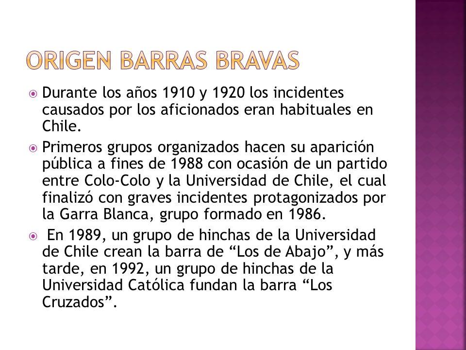 Origen BARRAS BRAVAS Durante los años 1910 y 1920 los incidentes causados por los aficionados eran habituales en Chile.