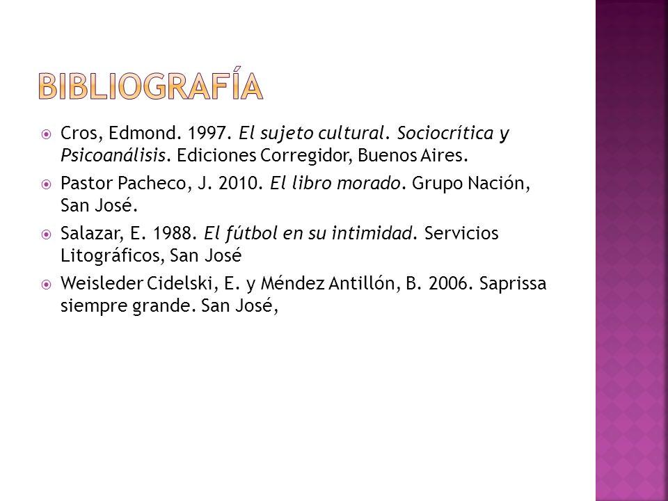 Bibliografía Cros, Edmond. 1997. El sujeto cultural. Sociocrítica y Psicoanálisis. Ediciones Corregidor, Buenos Aires.