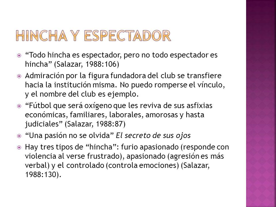 Hincha y Espectador Todo hincha es espectador, pero no todo espectador es hincha (Salazar, 1988:106)
