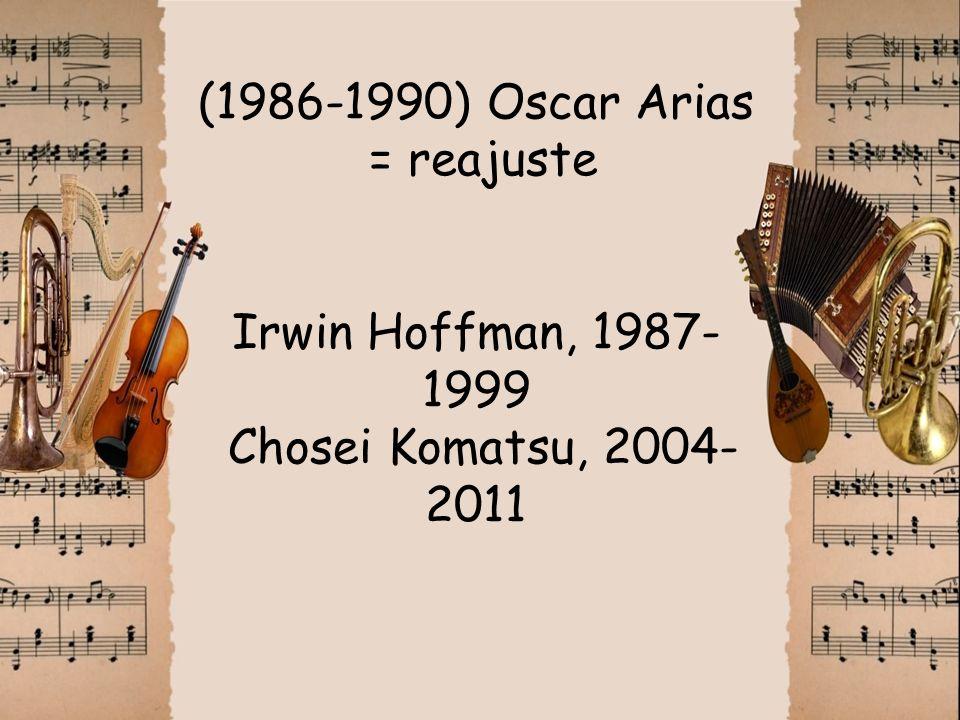 (1986-1990) Oscar Arias = reajuste Irwin Hoffman, 1987-1999 Chosei Komatsu, 2004-2011