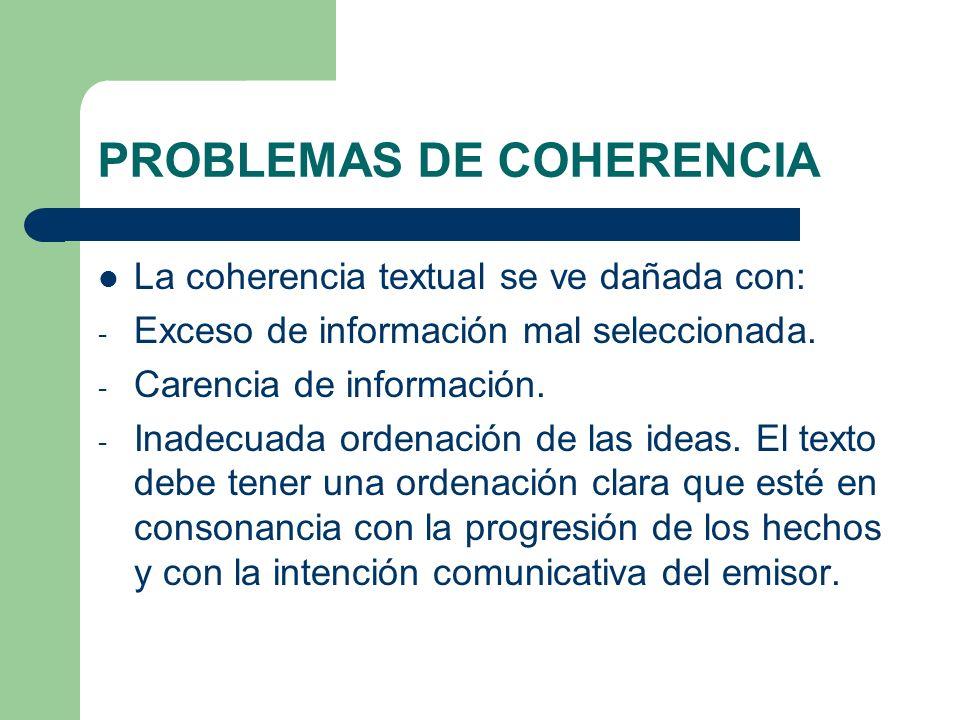 PROBLEMAS DE COHERENCIA