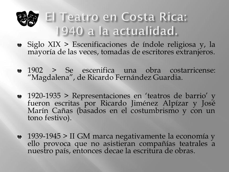 El Teatro en Costa Rica: 1940 a la actualidad.