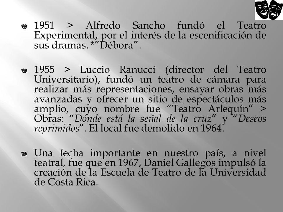 1951 > Alfredo Sancho fundó el Teatro Experimental, por el interés de la escenificación de sus dramas. * Débora .