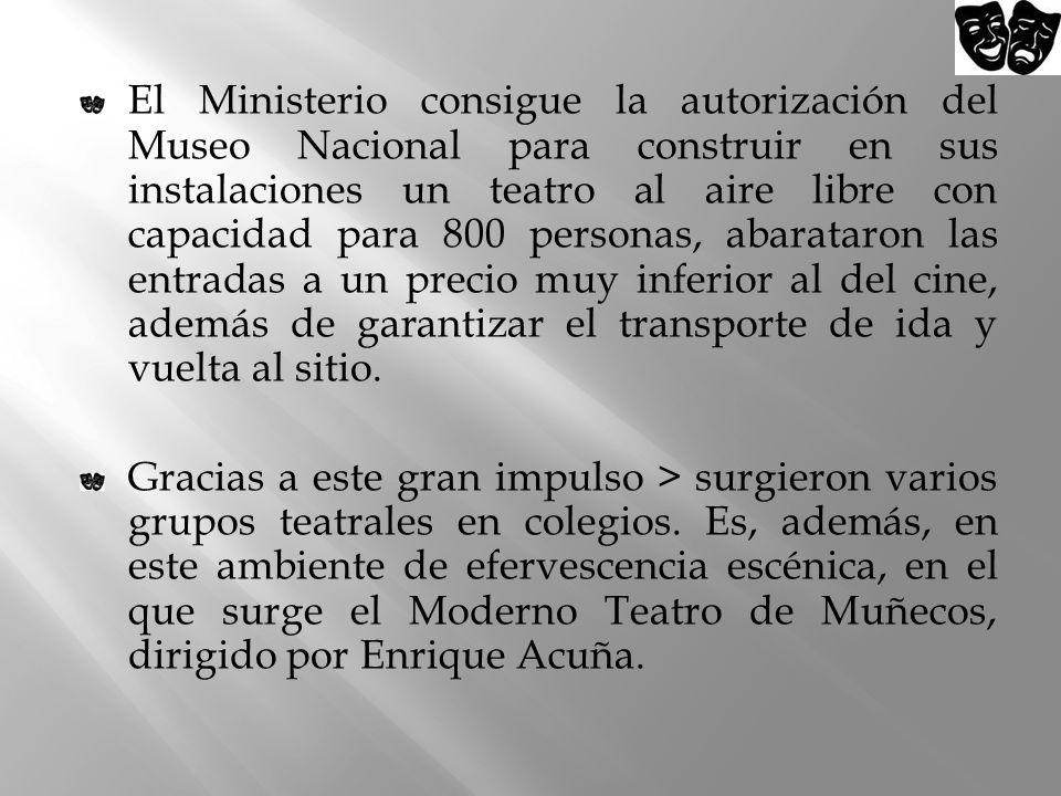 El Ministerio consigue la autorización del Museo Nacional para construir en sus instalaciones un teatro al aire libre con capacidad para 800 personas, abarataron las entradas a un precio muy inferior al del cine, además de garantizar el transporte de ida y vuelta al sitio.