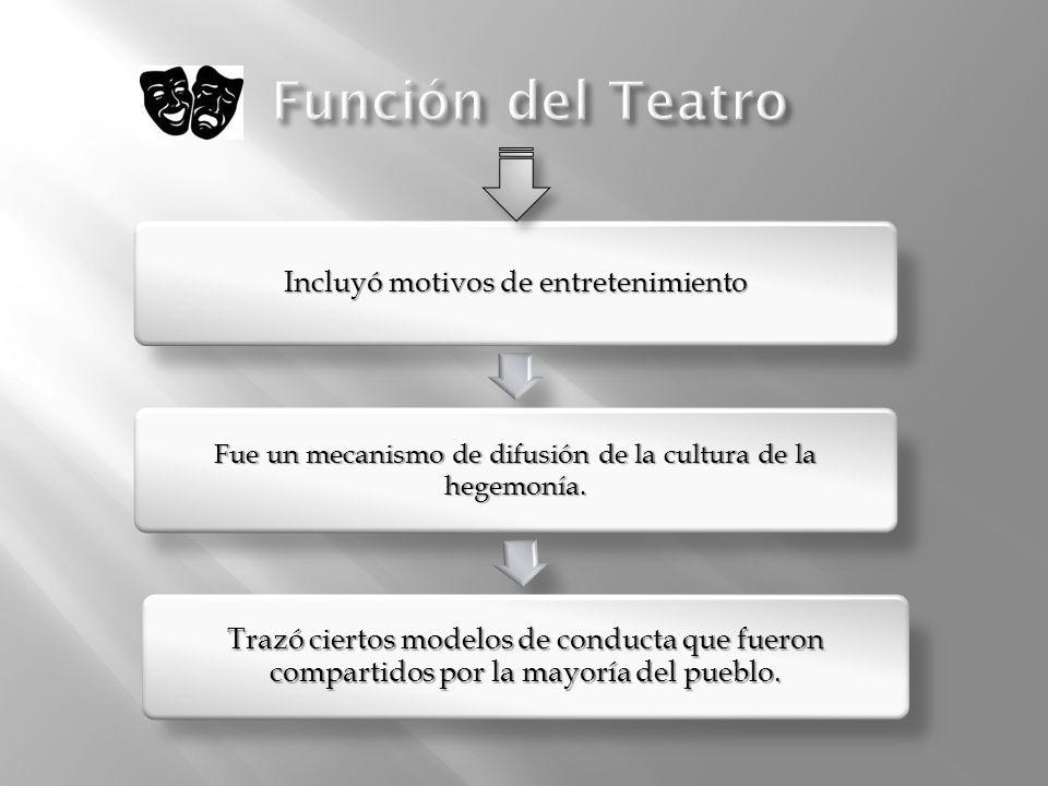 Función del TeatroIncluyó motivos de entretenimiento. Fue un mecanismo de difusión de la cultura de la hegemonía.