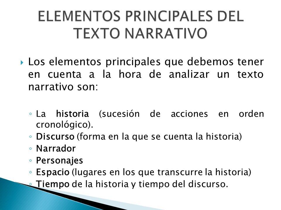 ELEMENTOS PRINCIPALES DEL TEXTO NARRATIVO