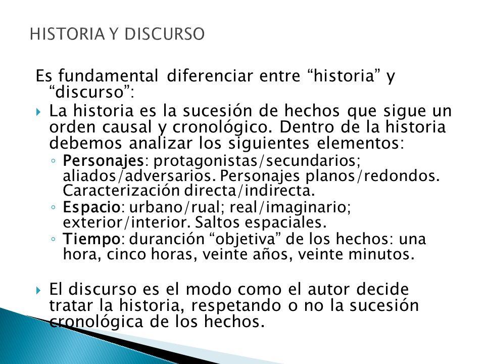Es fundamental diferenciar entre historia y discurso :