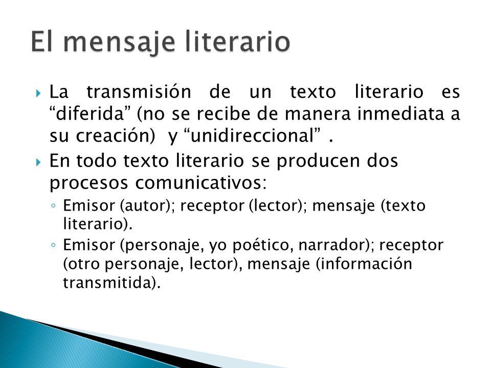El mensaje literario La transmisión de un texto literario es diferida (no se recibe de manera inmediata a su creación) y unidireccional .