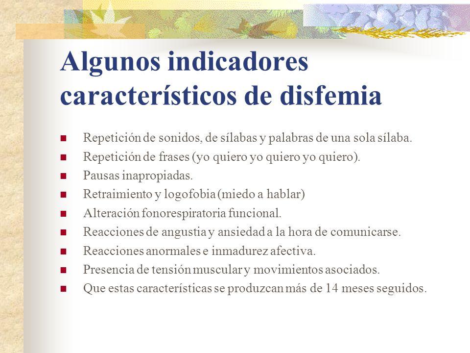 Algunos indicadores característicos de disfemia