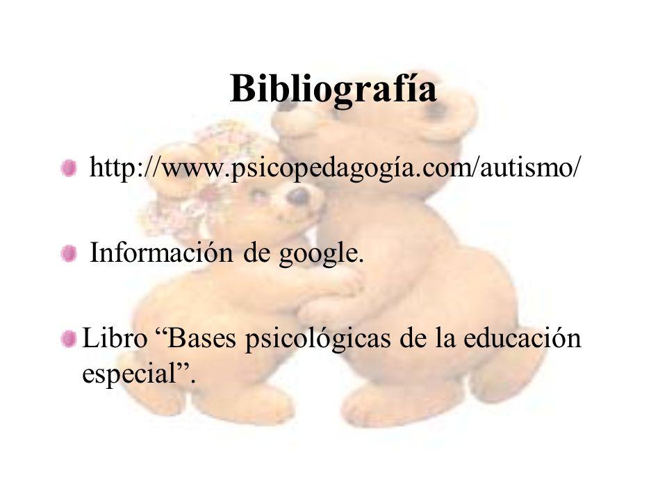 Bibliografía http://www.psicopedagogía.com/autismo/