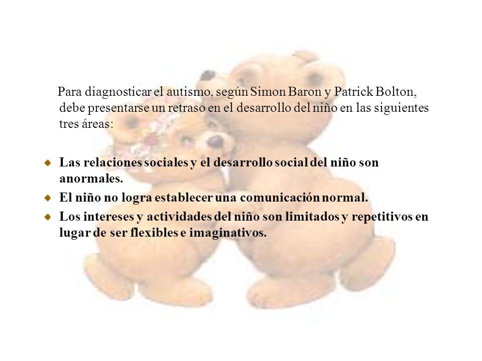 Para diagnosticar el autismo, según Simon Baron y Patrick Bolton, debe presentarse un retraso en el desarrollo del niño en las siguientes tres áreas: