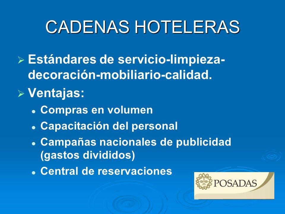 CADENAS HOTELERAS Estándares de servicio-limpieza-decoración-mobiliario-calidad. Ventajas: Compras en volumen.