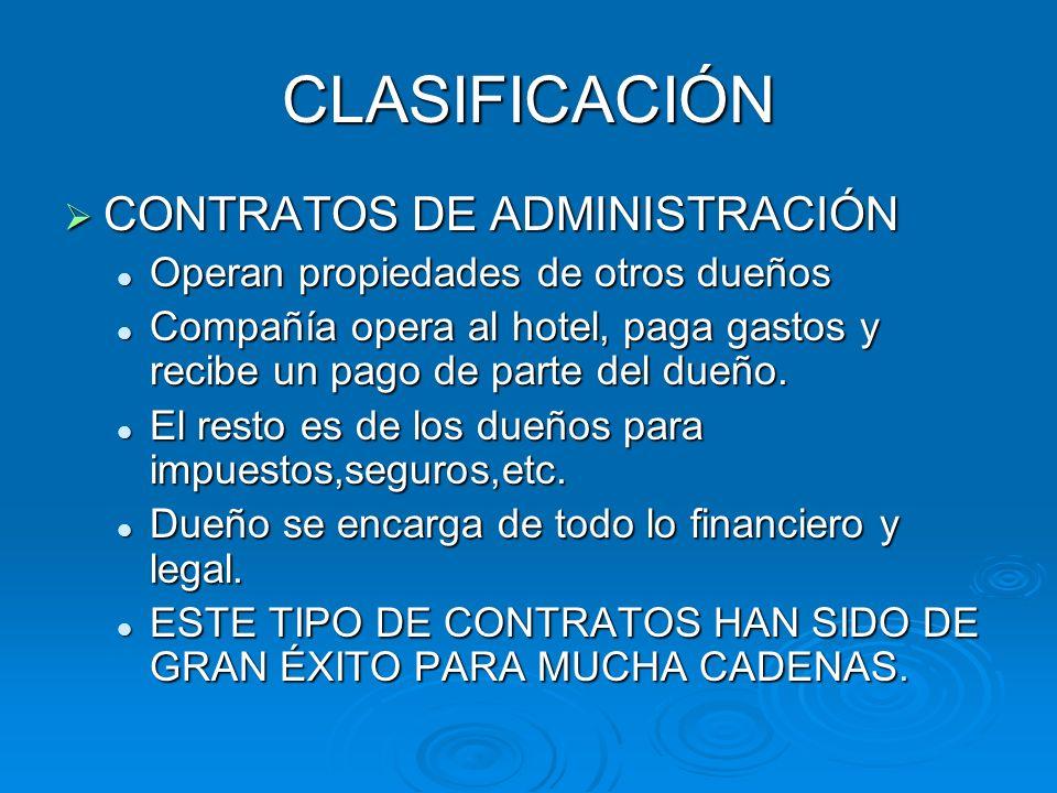 CLASIFICACIÓN CONTRATOS DE ADMINISTRACIÓN