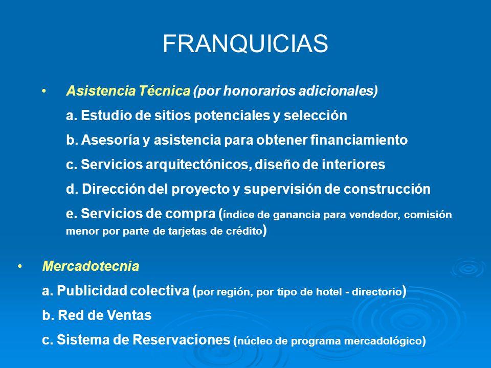FRANQUICIAS Asistencia Técnica (por honorarios adicionales)