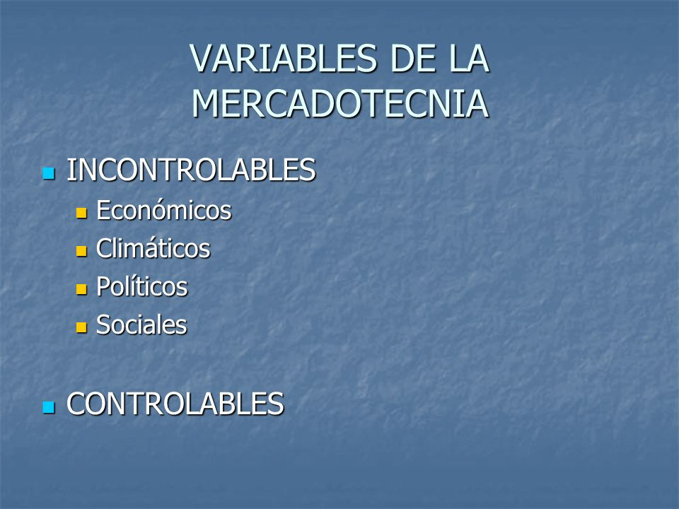 VARIABLES DE LA MERCADOTECNIA