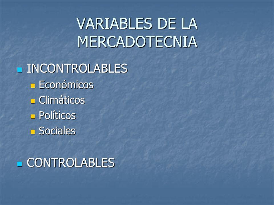 VARIABLES DE LA MERCADOTECNIA