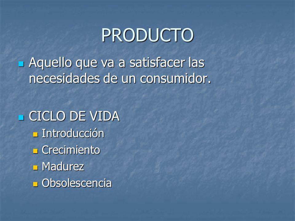 PRODUCTO Aquello que va a satisfacer las necesidades de un consumidor.