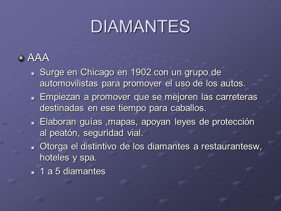 DIAMANTES AAA. Surge en Chicago en 1902 con un grupo de automovilistas para promover el uso de los autos.