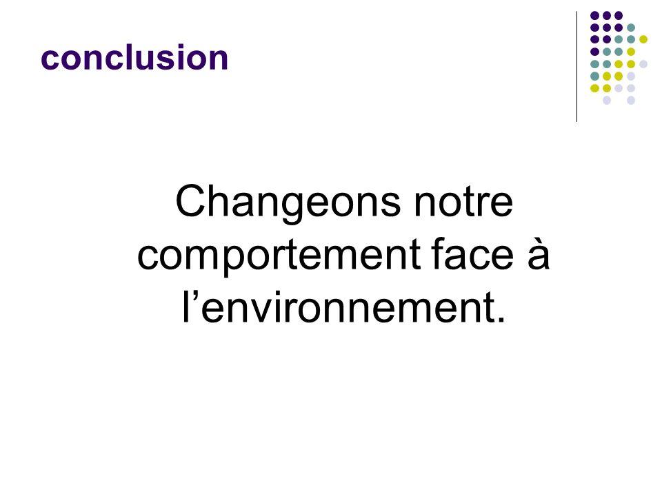 Changeons notre comportement face à l'environnement.