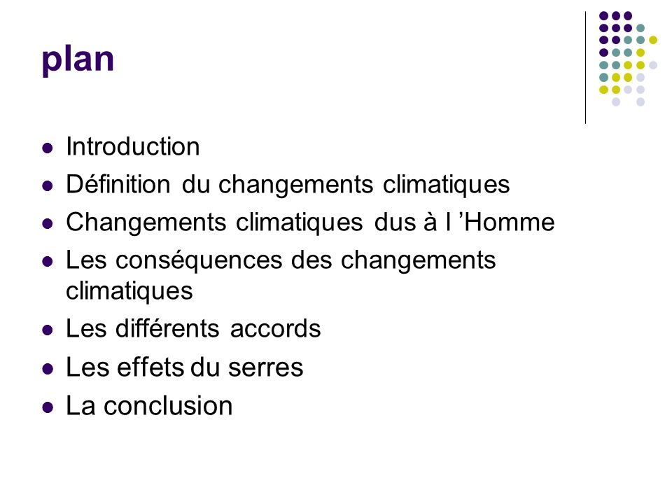 plan Les effets du serres La conclusion Introduction