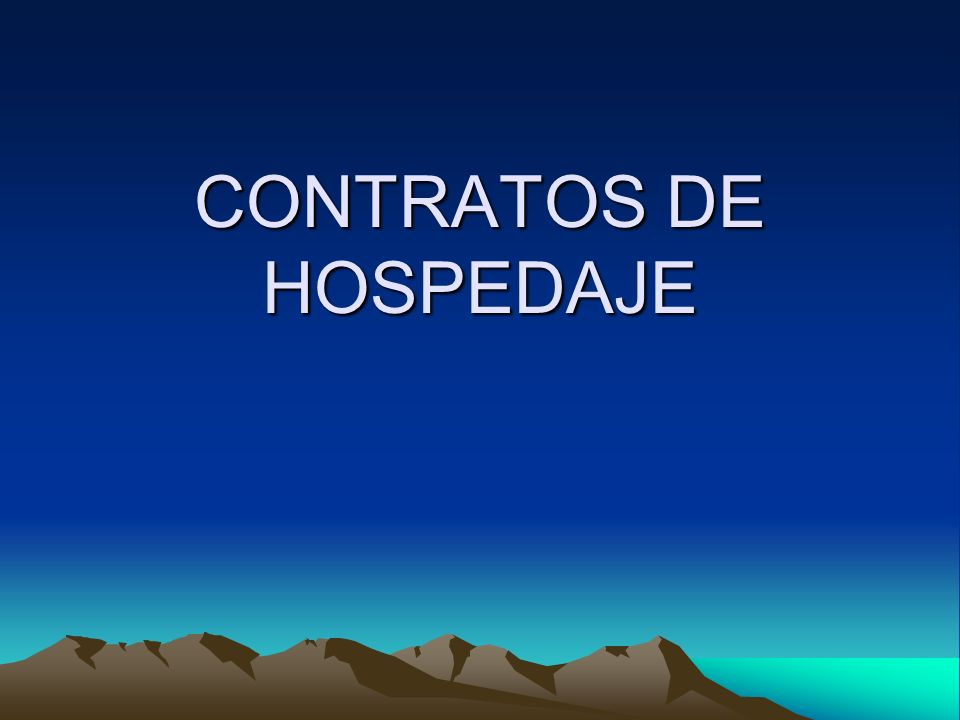 CONTRATOS DE HOSPEDAJE