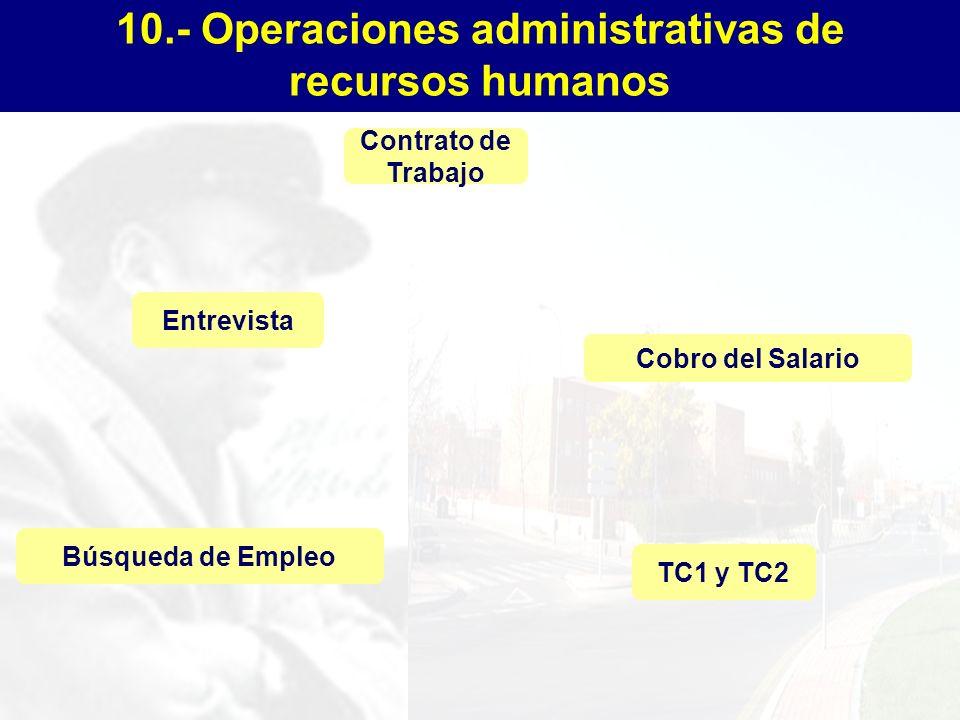 10.- Operaciones administrativas de recursos humanos