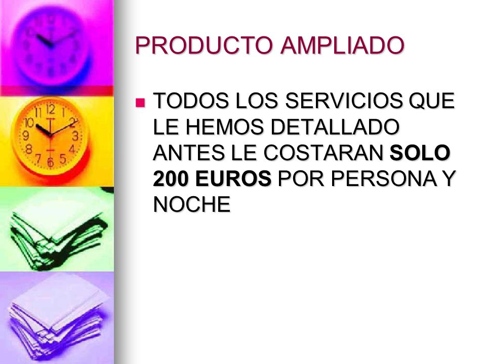 PRODUCTO AMPLIADO TODOS LOS SERVICIOS QUE LE HEMOS DETALLADO ANTES LE COSTARAN SOLO 200 EUROS POR PERSONA Y NOCHE.