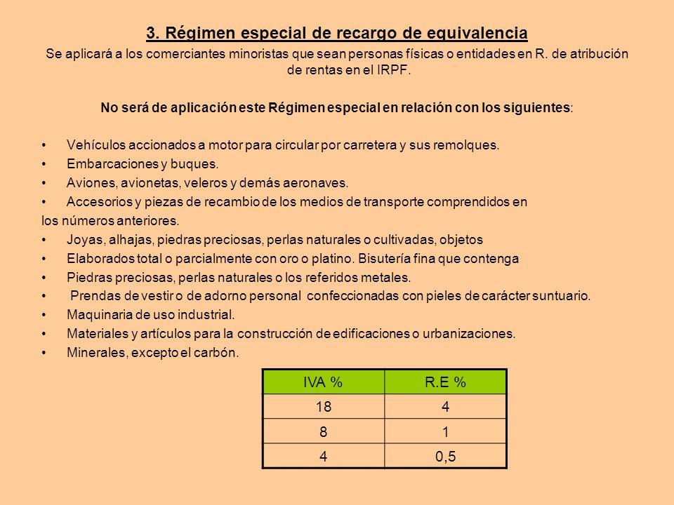3. Régimen especial de recargo de equivalencia