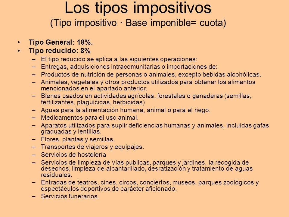 Los tipos impositivos (Tipo impositivo · Base imponible= cuota)
