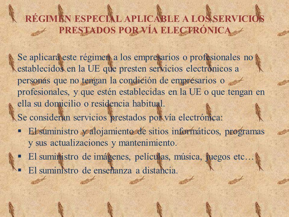 RÉGIMEN ESPECIAL APLICABLE A LOS SERVICIOS PRESTADOS POR VÍA ELECTRÓNICA