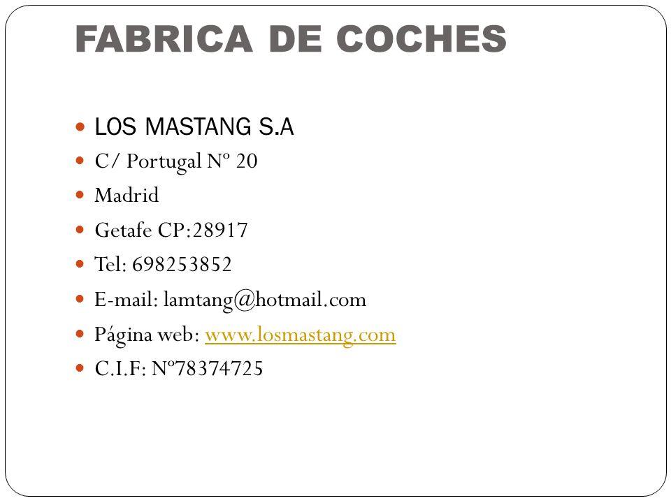 FABRICA DE COCHES LOS MASTANG S.A C/ Portugal Nº 20 Madrid