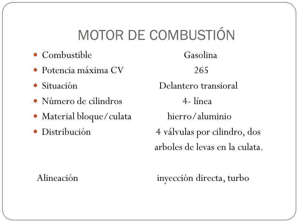MOTOR DE COMBUSTIÓN Combustible Gasolina Potencia máxima CV 265