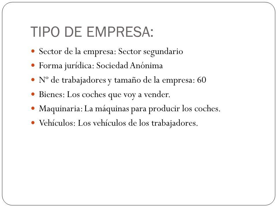 TIPO DE EMPRESA: Sector de la empresa: Sector segundario