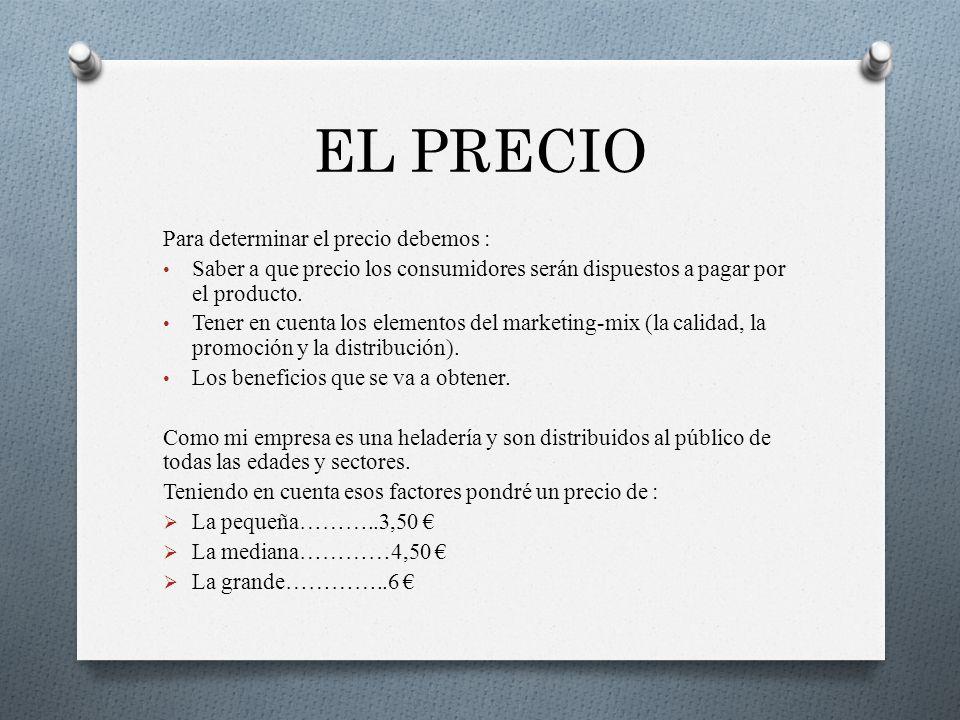 EL PRECIO Para determinar el precio debemos :