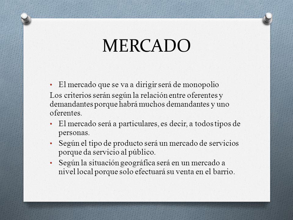 MERCADO El mercado que se va a dirigir será de monopolio