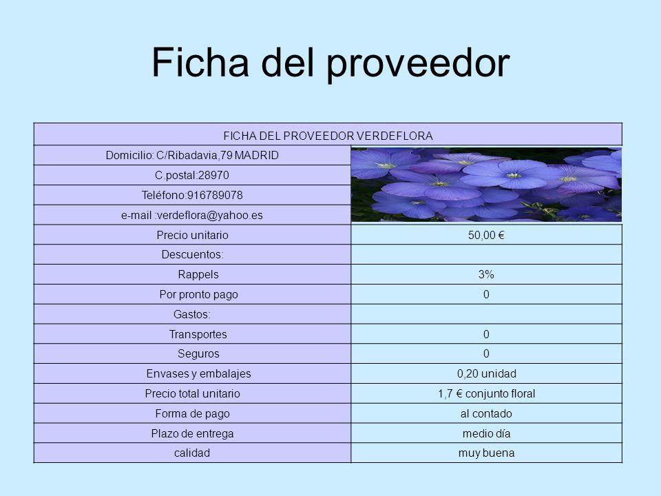 Ficha del proveedor FICHA DEL PROVEEDOR VERDEFLORA